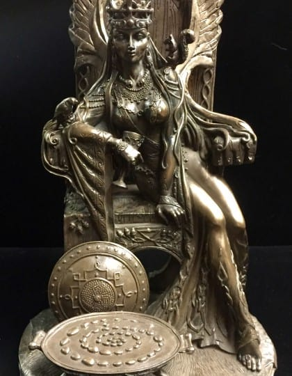 Celtic War an Love Goddess Maeve (Medb)Cold Cast Bronze Statue by Maxine Miller ©Maxine Miller - Front