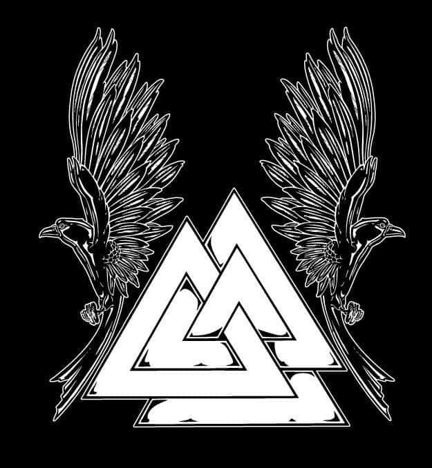 Short sleeve norse valknut t shirt with raven supporters for Valknut symbol tattoo