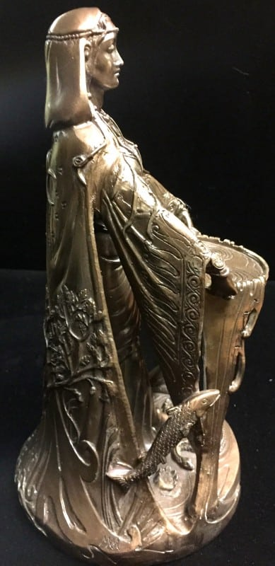 Celtic Goddess Danu Cold Cast Bronze Resin Statue by Maxine Miller ©Maxine Miller - Side View