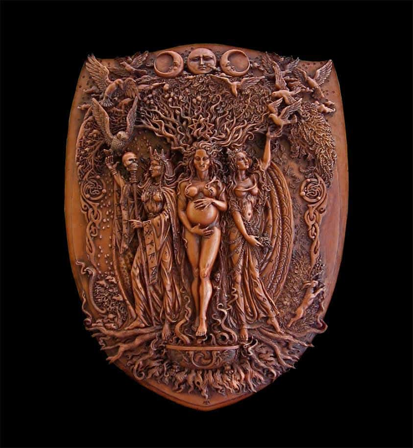Celtic Triple Goddess Maiden Mother and Crone Wall Plaque