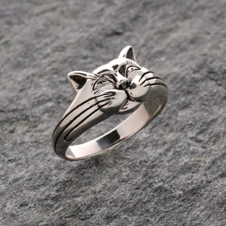rings smiling cat sterling silver celtic jackalope