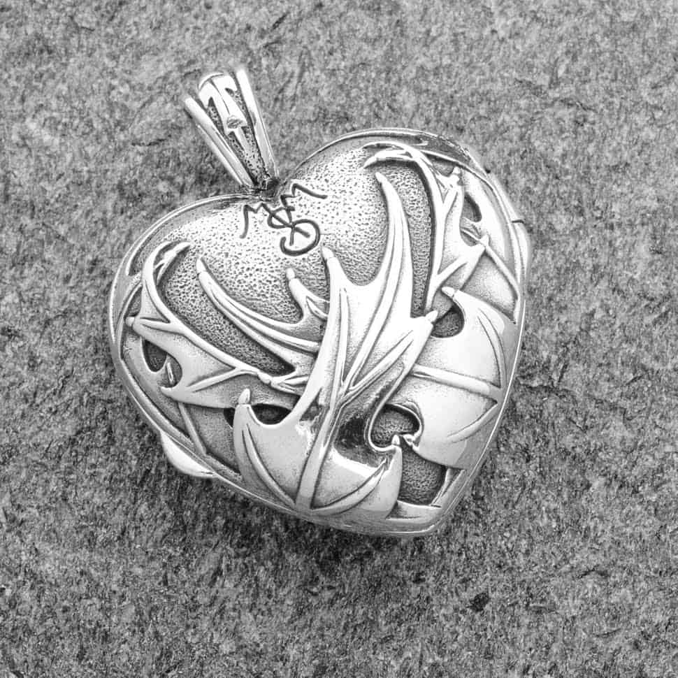 Pendant Heart And Scottish Thistle Locket Sterling
