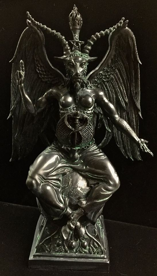 Baphomet Statue Black and Antique Green Resin by Maxine Miller ©celticjackalope.com 1
