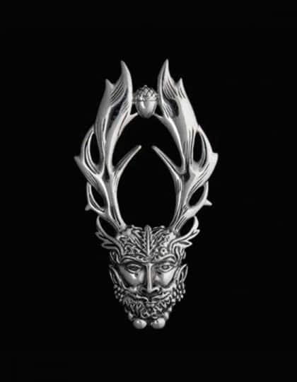 Celtic Horned God Cernunnos Sterling Silver Pendant by Maxine Miller © celticJackalope.com HERNE THE HUNTER
