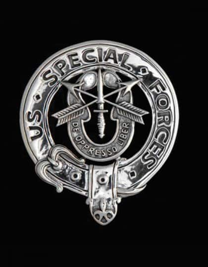 US ARMY: Special Forces Bagpiper Belted Crest Badge - .925 Sterling Silver ©celticjackalope.com