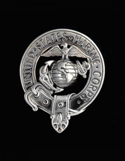 United States Marine Corps USMC Bagpipers Belted Crest Badge - .925 Sterling Silver ©celticjackalope.com
