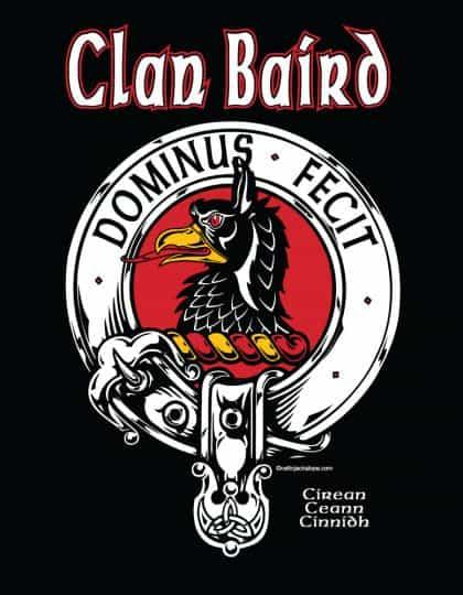 Clan Baird Clansman's Crest Badge T-Shirt by Maxine Miller ©celticjackalope.com DOMINUS FECIT