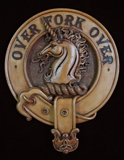 Clan Cunningham Plaque Wood Finish Over Fork Over by Maxine Miller