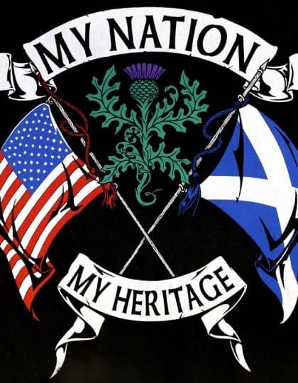 My Nation My Heritage Scottish American Men's T-Shirt by Maxine miller ©celticjackalope.com