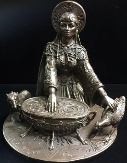 Celtic Crone Goddess Cerridwen Cold Cast Bronze Statue by Maxine Miller ©Maxine Miller - Front View