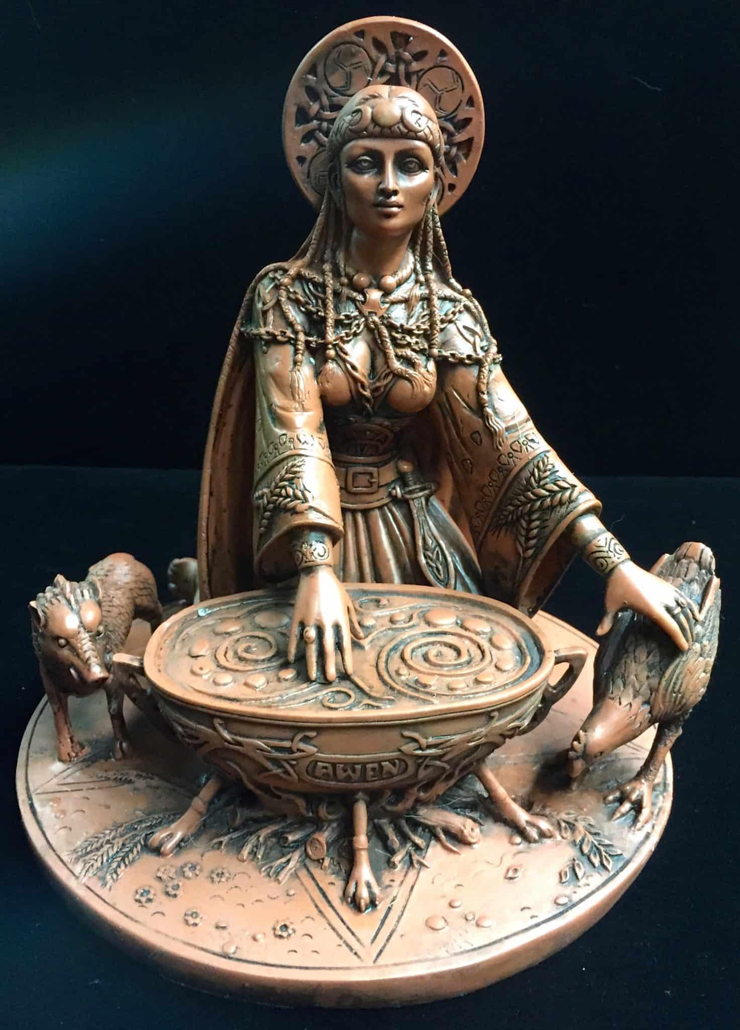 Celtic Crone Goddess Cerridwen Terracotta Resin Statue by Maxine Miller ©Maxine Miller - Front View