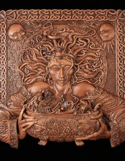 Celtic Crone Goddesss Cerridwen Plaque Wood Finish by Maxine Miller