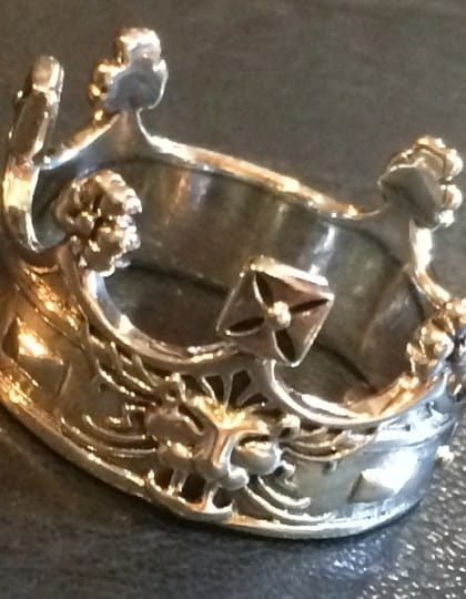 Ducal Coronet Royal Crown Ring Sterling Silver by Maxine Miller