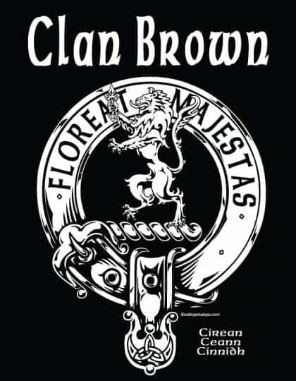 POCKET: Clan Broun/Brown Clansman's Crest Badge T-Shirt by Maxine Miller FLOREATMAJESTAS ©celticjackalope.com